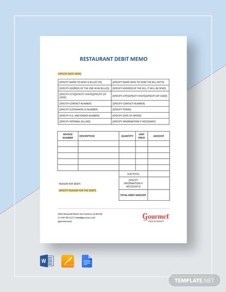restaurant debit memo