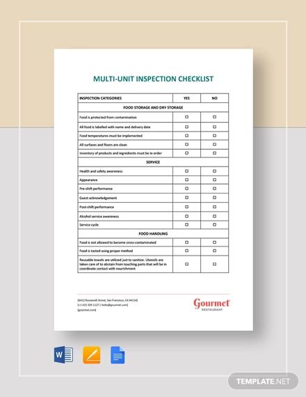 restaurant multi unit inspection