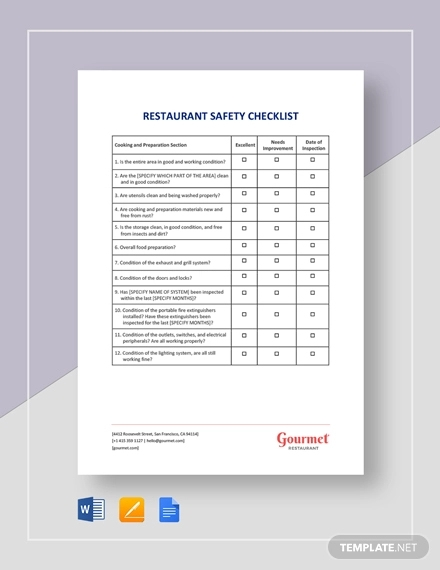 restaurant safety checklist