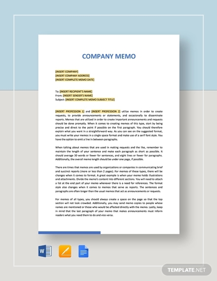 sample company memo