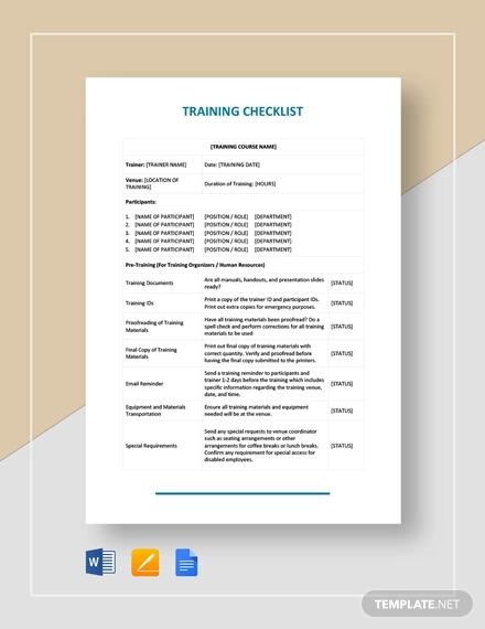 training checklist1