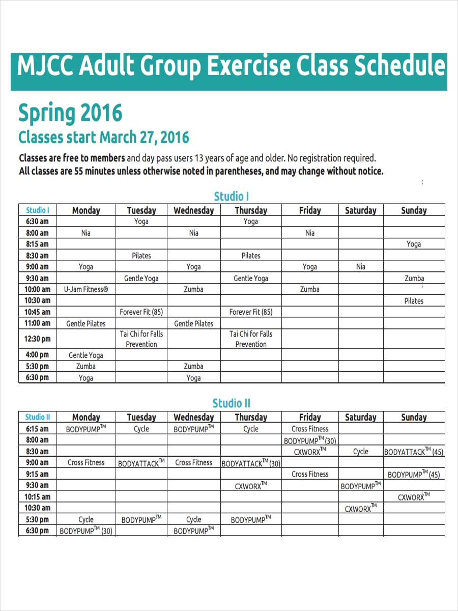 adult group exercise schedule