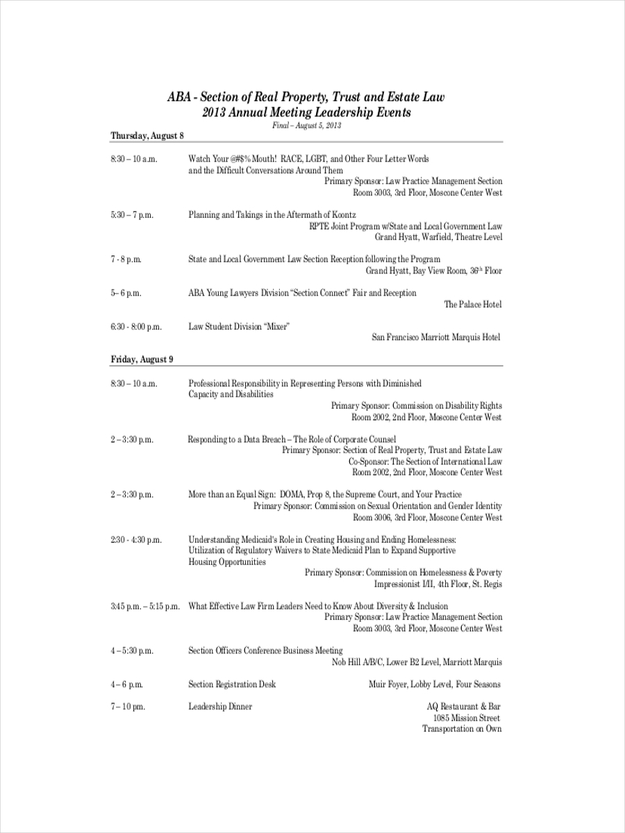 annual meeting schedule example