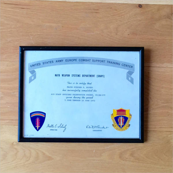 army course training certificate