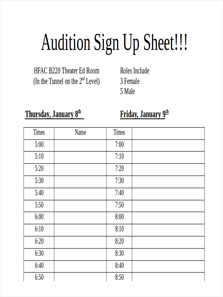 audition sign up sheet example