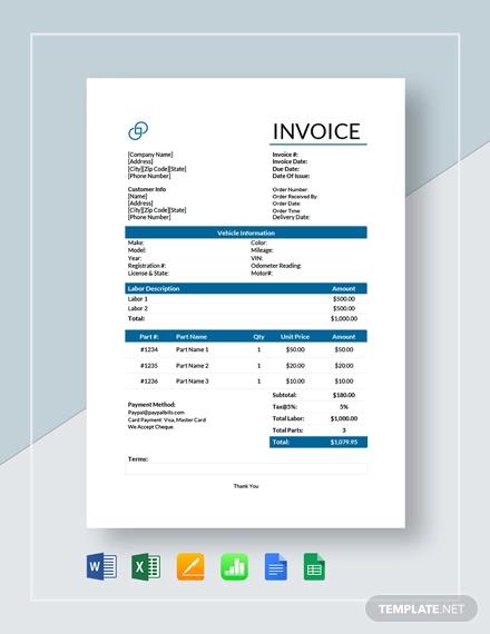 auto repair service invoice template