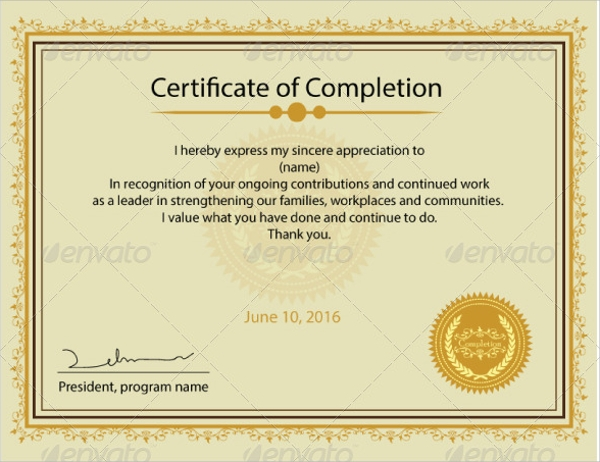 9+ Certificate of Completion - Word, PSD, AI, InDesign