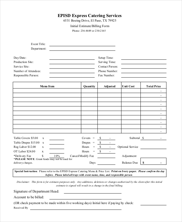 8  catering invoice example  u0026 samples