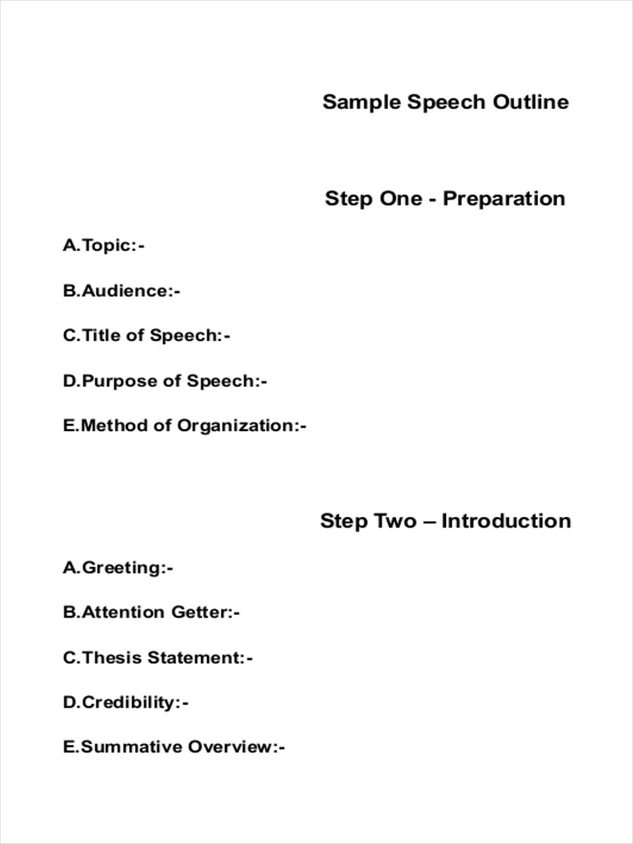 basic speech sample outline