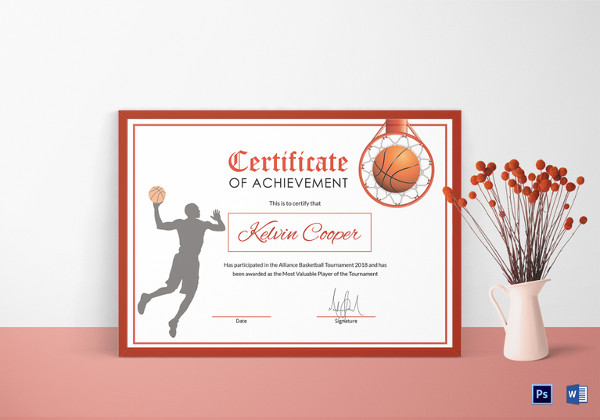 Basketball Award Achievement Certificate Template