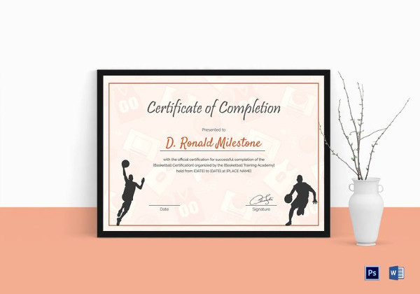 basketball completion certificate template