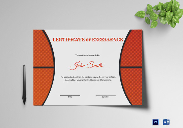 basketball excellence award certificate