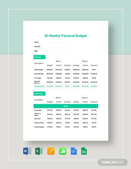 bi weekly personal budget template