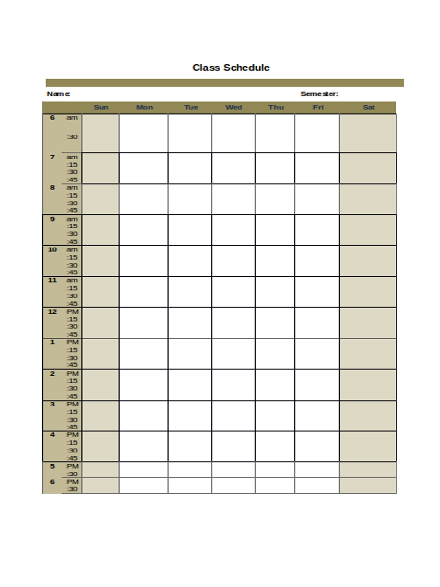 Free 6 College Schedule Examples Amp Samples In Pdf Doc