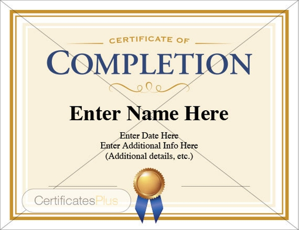 spot award certificate template - 8 certificate of completion examples samples