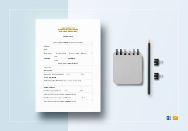 blank incident report template to edit