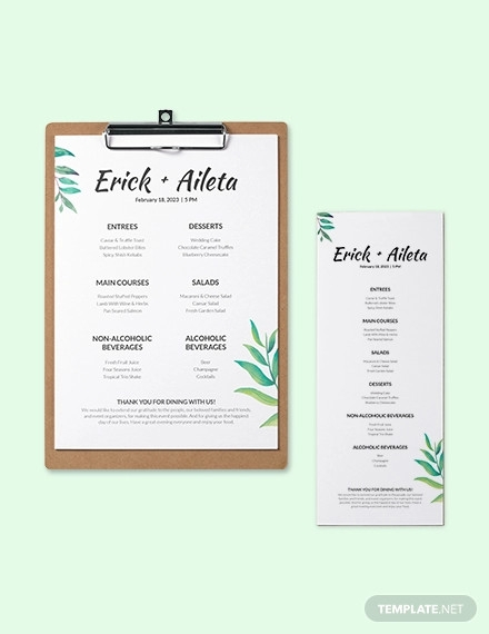 blank wedding menu template