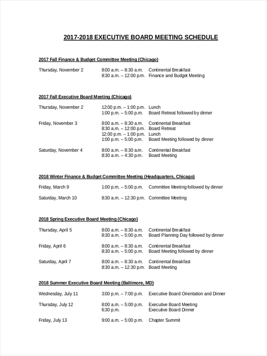 board meeting schedule1