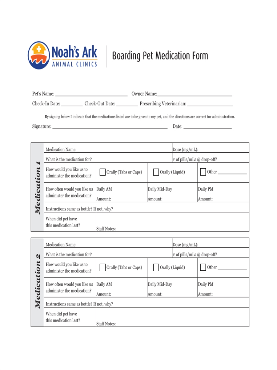 boarding medication sample sheet