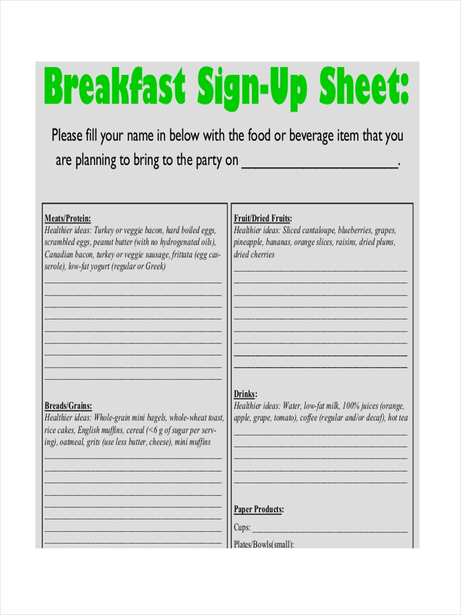 breakfast sign up sheet