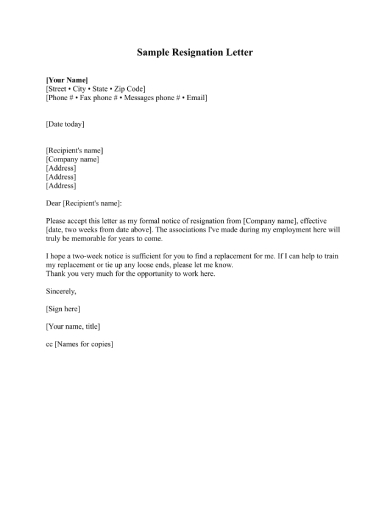 brief resignation email letter