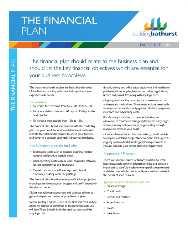 8 financial plan examples samples pdf word pages