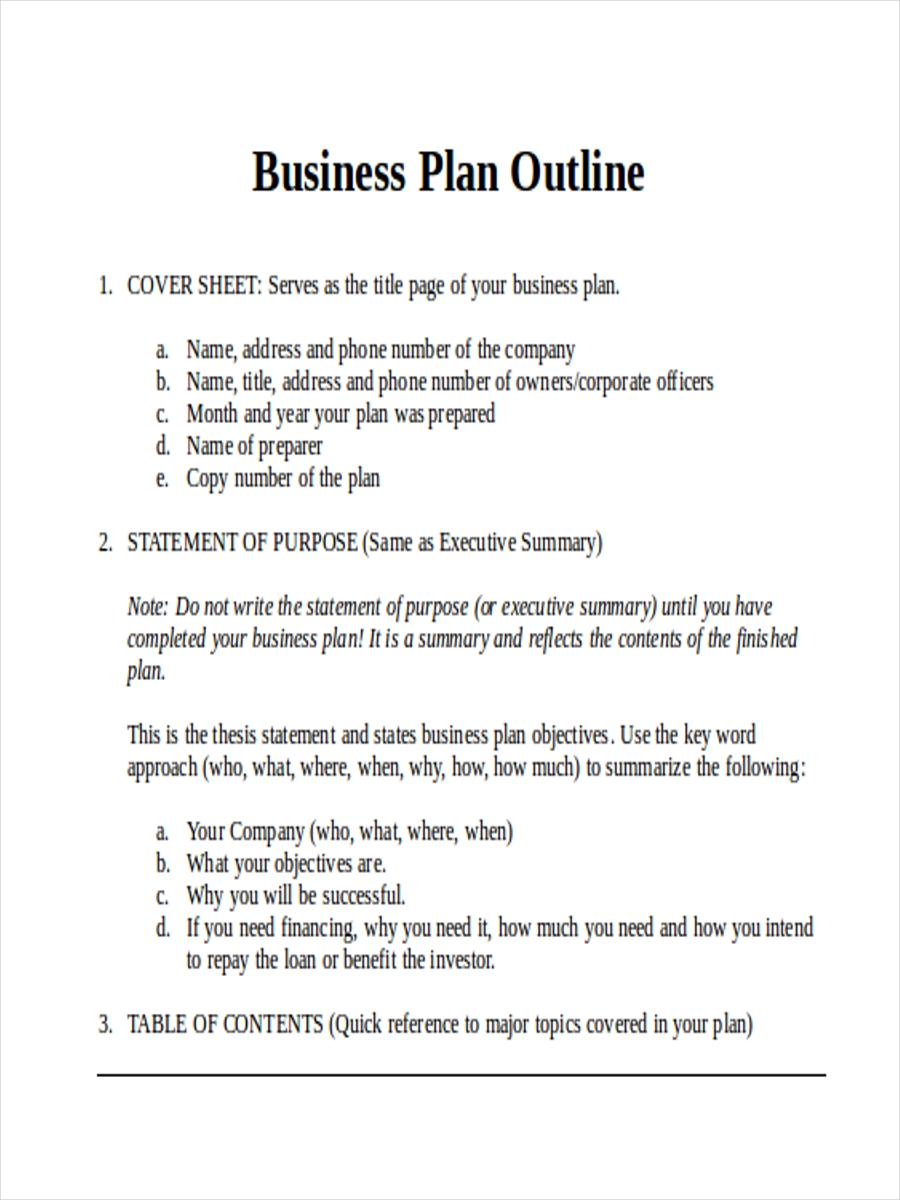 Business Plan Sample Outline