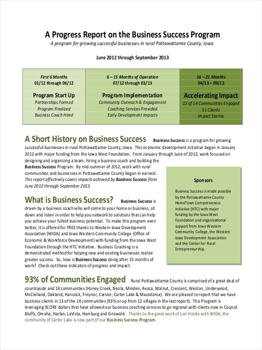 business progress report