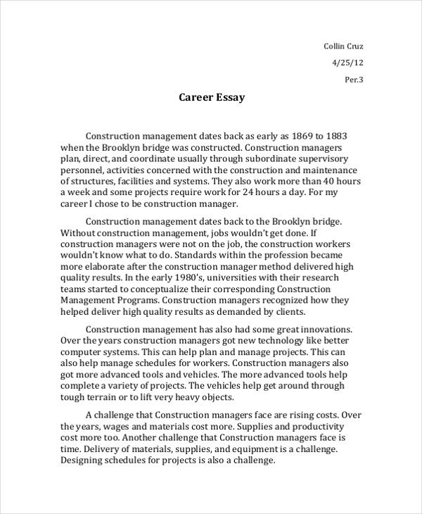 Interview Essay Examples  Samples  Pdf Doc