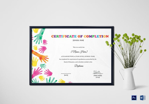 certificate of diploma completion template