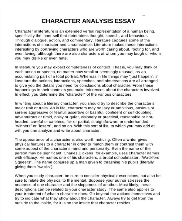 example of a character analysis essay Essay character analysis example with strong presence of over 15 years in the custom-writing industry, superior papers is one of the most reliable services on this market.