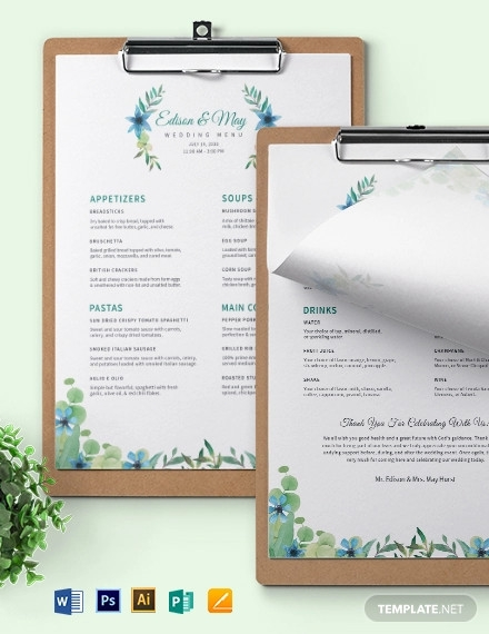 choice wedding menu template