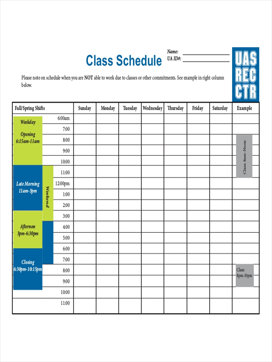 college class schedule example