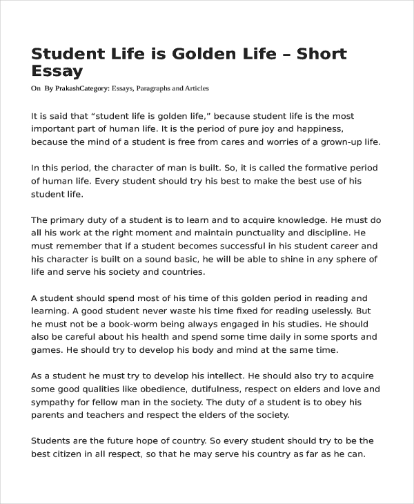 Student life essay in english