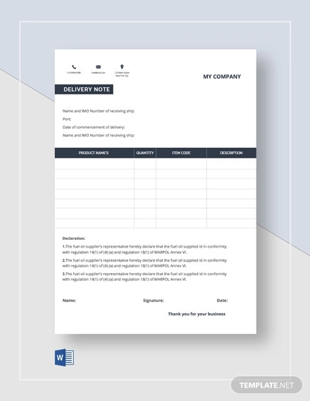 company delivery note template