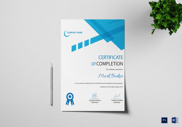 26 completion certificate examples psd pdf word completion certificate template yelopaper Image collections