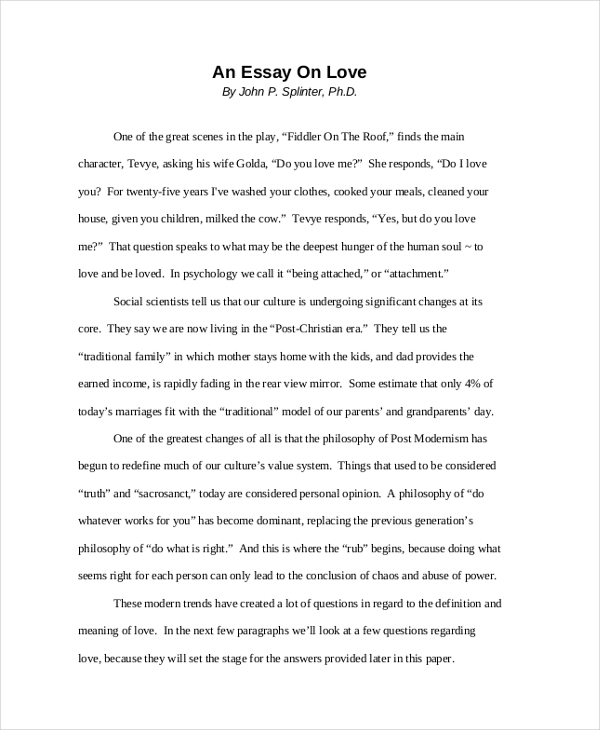 A essay about love