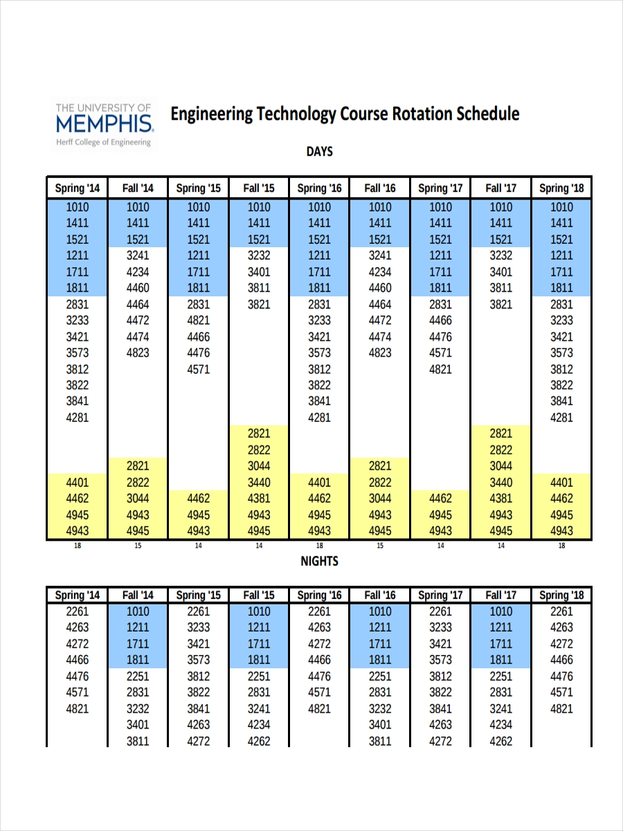 course rotation schedule