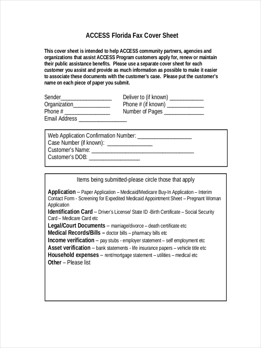 customer fax cover sample sheet