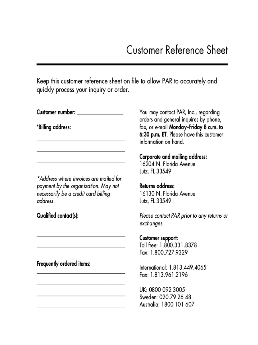 customer reference sheet