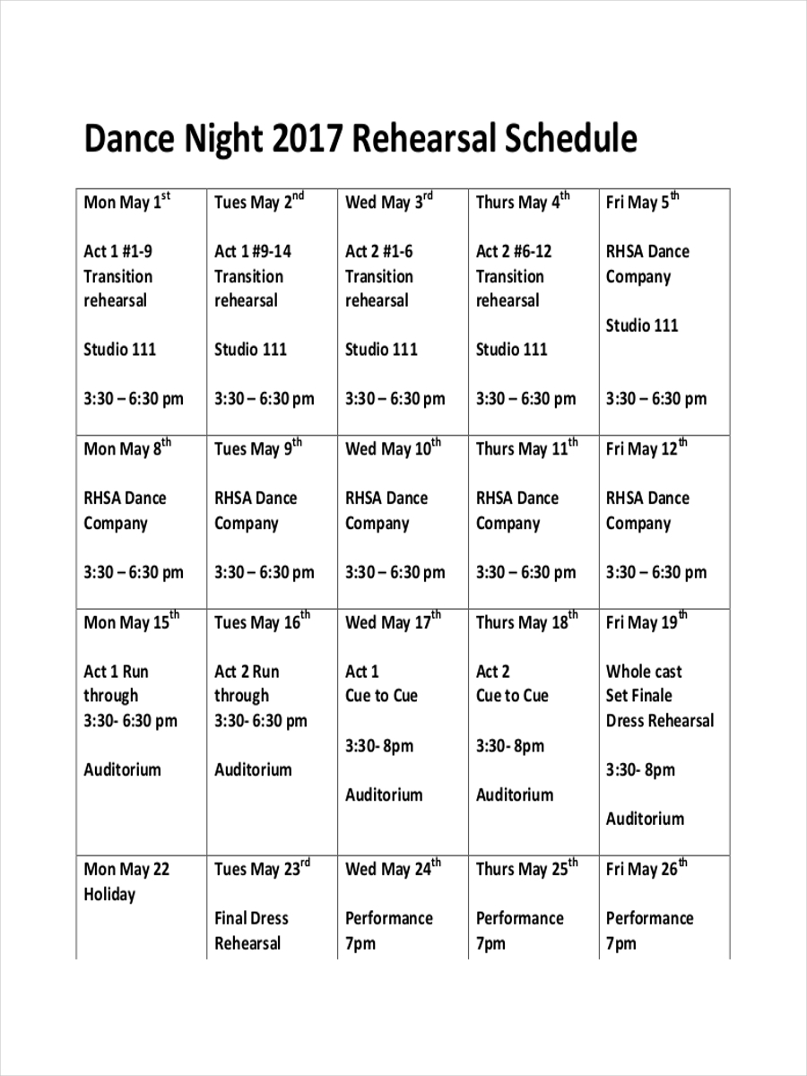 8 Rehearsal Schedule Examples Samples