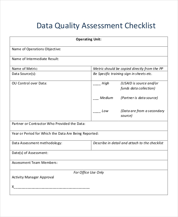data quality checklist