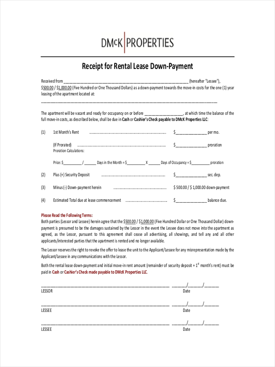 Payment Receipts Examples Samples - Down payment receipt form