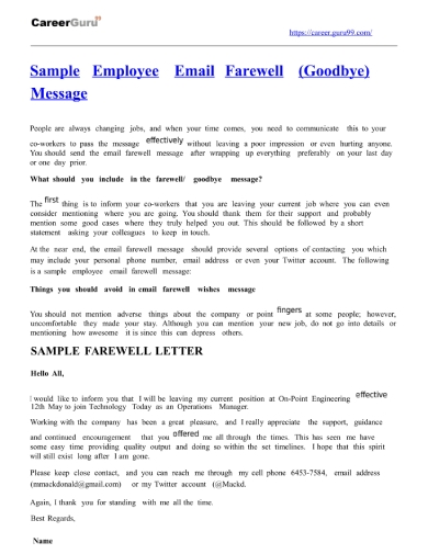 5+ Goodbye Emails to Coworkers Examples & Samples - Word | Examples