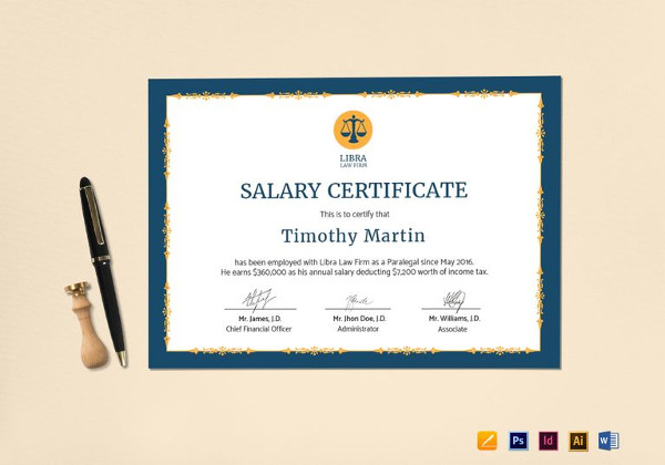 10 salary certificate examples samples pdf word employee salary certificate template yelopaper Gallery