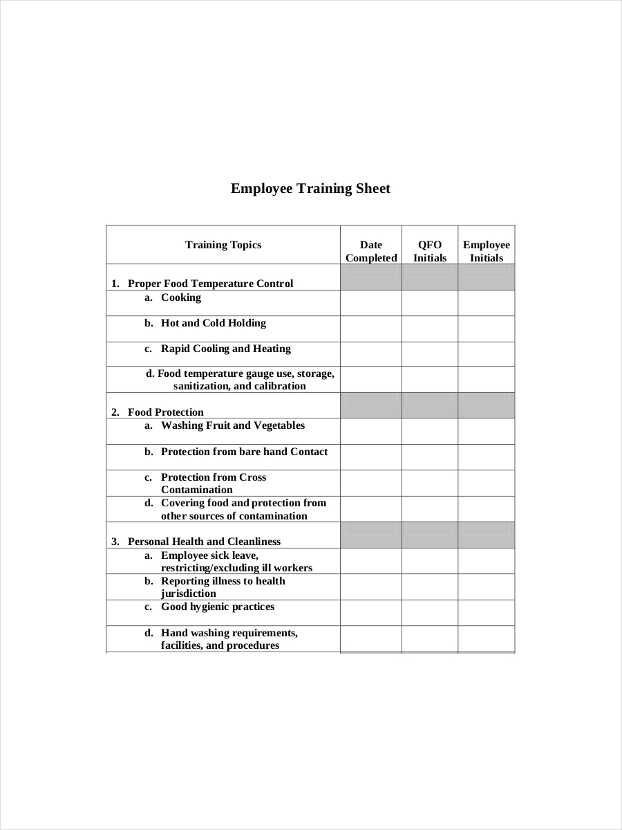 employee training sheet example