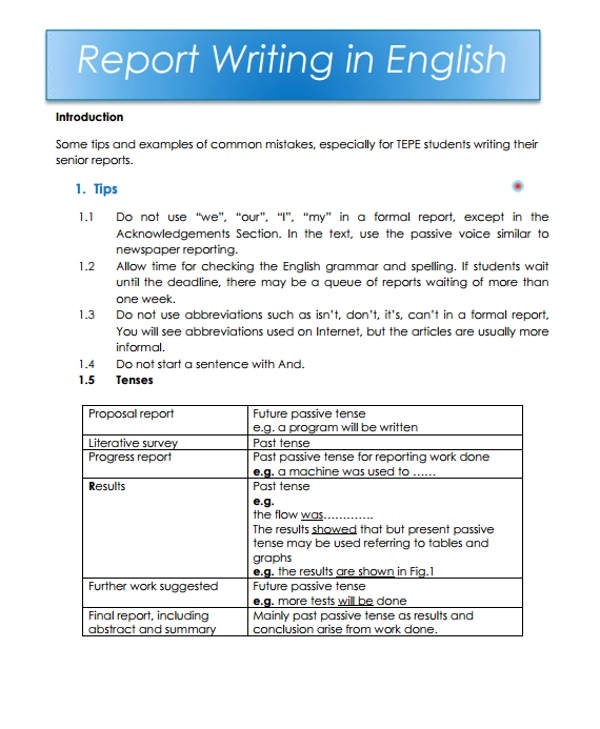 english report writing example