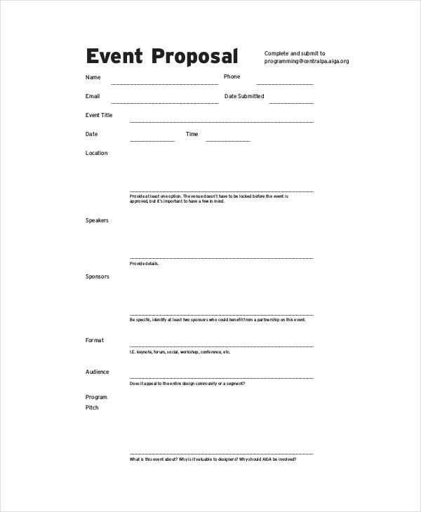 Good Event Budget Proposal Example