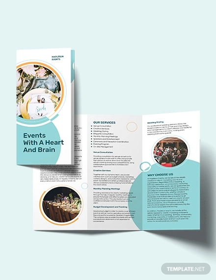 event planner tri fold brochure