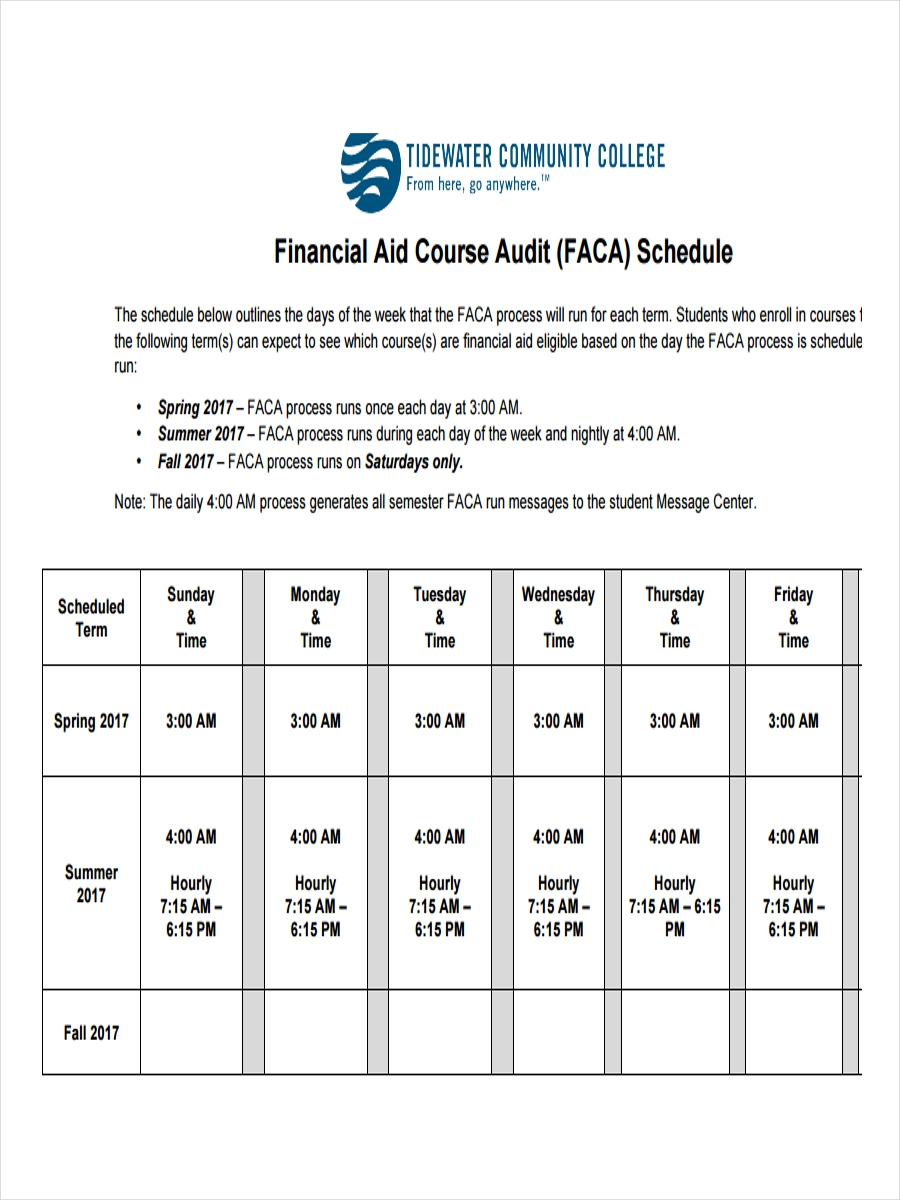 financial audit schedule